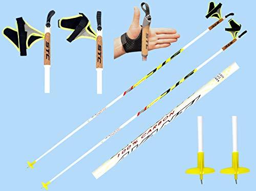 STC Sport Extrem leichte 100% Carbon Langlaufstöcke Skating Stöcke Skistöcke, Avanti White 170 cm