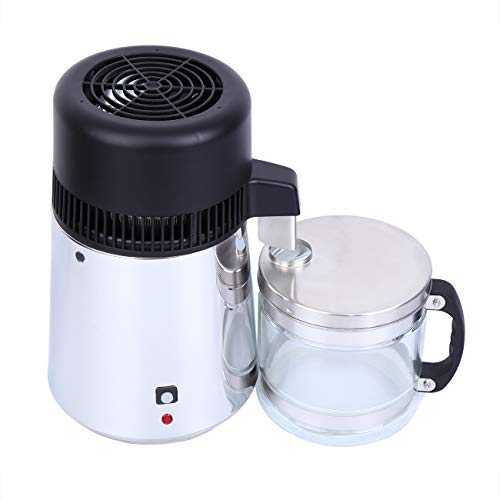 Samger Maquina Destilador de Agua Portátil Acero Inoxidable 4L Purificador Agua con Vaso Contenedor Water Distiller