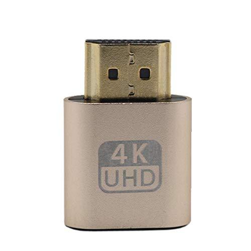 Funnyrunstore HDMI Dummy Plug Adaptador de Pantalla Virtual Emulador DDC Edid Support 1920x1080P para Tarjeta de Video BTC Mining Miner (Oro)
