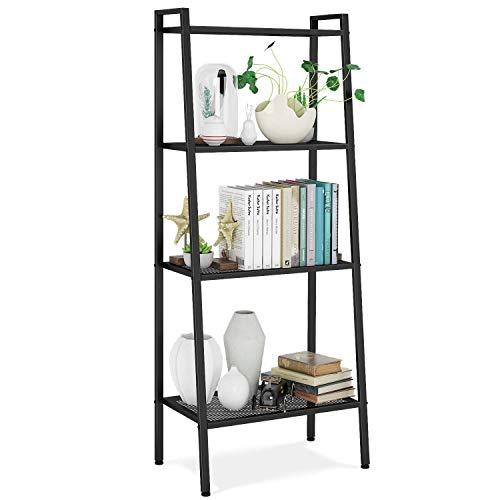 Bücherregal Standregal mit 4 Böden Leiterregal Pflanzenregal Badregal Stufenregal Treppenregal Lagerregal Metall schwarz 60x35x147cm