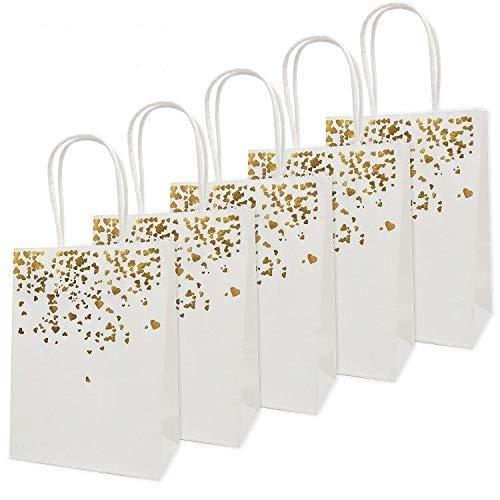 20 Piezas Bolsas de papel kraft con asas hechas de papel kraft respetuosas con el medio ambiente y más duraderas(15 * 7.8 * 21CM) (blanco)