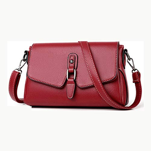 SXCZDZSW El Bolso de Las Mujeres, Nuevo Bolso Messenger, Moda Salvaje Textura, Bolso de la Madre de Mediana Edad, señoras de Cuero Suave Bolsa (Color : Red)