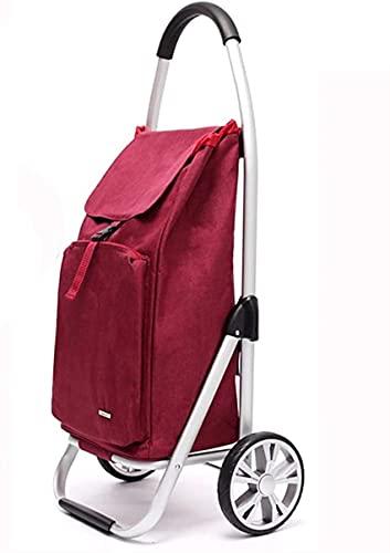 Carro de Compras Plegable sobre Ruedas, Carrito de Compras Ligero con Bolsa aislada, 46L de Gran Capacidad (Color : B)