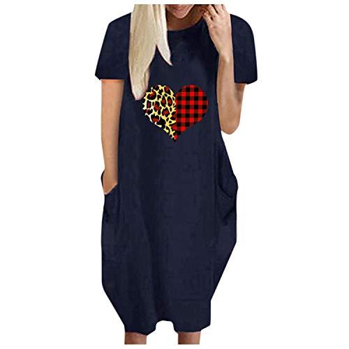 Summer Dress Short-Sleeve 2021 Fashion Women Loose Love Print O-Neck Pockets Casual Short Sleeves Dress