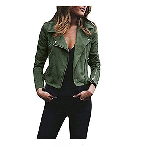 DISCOUNTL Damen-Jacke, für Herbst und Winter, diagonaler Reißverschluss, kurz, lässige Jacke (Artikel enthält nur Oberbekleidung) Gr. XXX-Large, grün