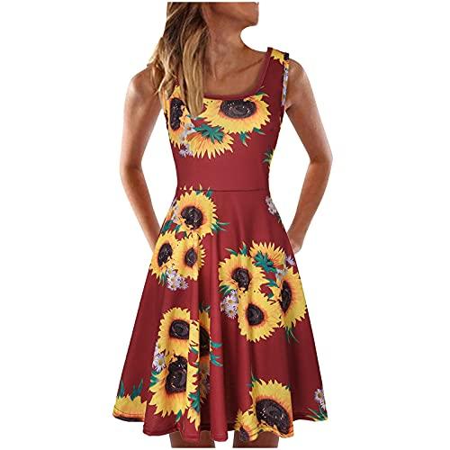 pamkyaemi Vestido de verano para mujer, largo hasta la rodilla, sexy, sin mangas, cuello halter, holgado, informal, minivestido, con falda plisada, cuello redondo, para tiempo libre. rosa L