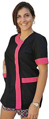 Petersabitidalavoro Bata de trabajo para mujer, casaca de esteticista, peluquería, cocina, alimentos, maestra guardería Negro Inserto Fuchsia XL