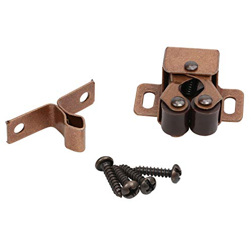 Rok Hardware 10 Pack of Penny Copper Double Roller Catch with Prong for Cabinet Doors, RV Cabinet Latch, Camper Cabinets, Kitchen Cabinets, Dressers ROKRLCPC