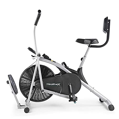Healthex Exercise Cycle Gym Air Bike for Home Use Stamina Moving Handle with Back Support and...