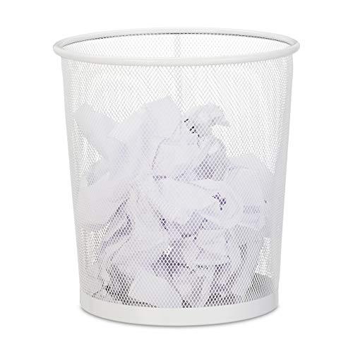 Relaxdays Papierkorb, Büro & Jugendzimmer, offen, rund, Drahtgeflecht, Papiermülleimer, Metall, H x D: 28 x 26 cm, weiß, 1 Stück