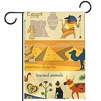 ウェルカムガーデンフラッグ(12x18in)両面垂直ヤード屋外装飾,神秘的なエジプトの古代のシンボル