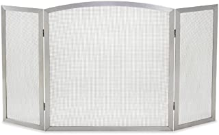 Pilgrim Home and Hearth 18245 Newport Tri Fireplace Panel Screen, Stainless Steel