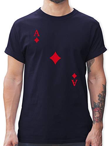 Karneval & Fasching - Spielkarte Karo - L - Navy Blau - Poker Tshirt Herren - L190 - Tshirt Herren und Männer T-Shirts