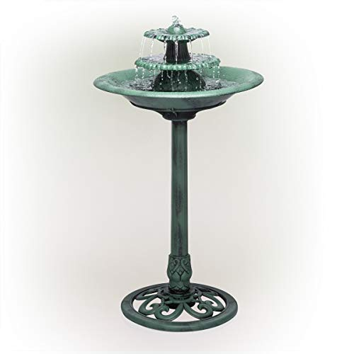 Alpine Corporation TEC106 Tiered Classic Pedestal Garden Water Birdbath Floor Fountain, One Size, Green