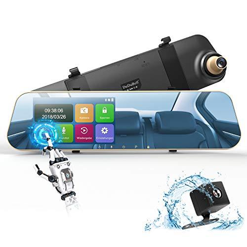"""DuDuBell Dashcam Autokamera 1080P Rückspiegelkamera Monitor mit wasserdichte Rückfahrkamera Dual Lens dashcam 4,3\"""" Touchscreen 170° Weitwinkel G-Sensor Loop-Aufnahme Parküberwachung Bewegungserkennung"""