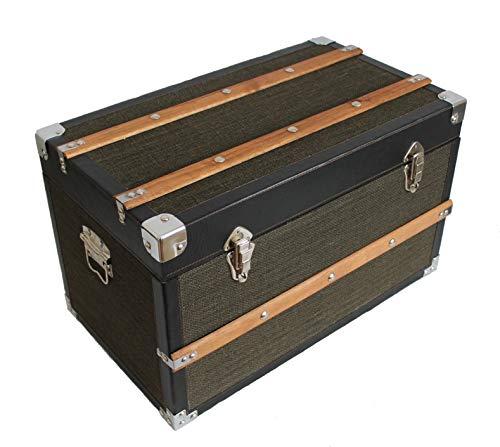 AAF Nommel,®, Kolonial Truhe Holz mit Stoffbezug und Naturholz Leisten, Nr. 901, solide Verarbeitung mit Hellen Metallbeschlägen, Truhe ca. 60 x 36,5 x 34,5 cm