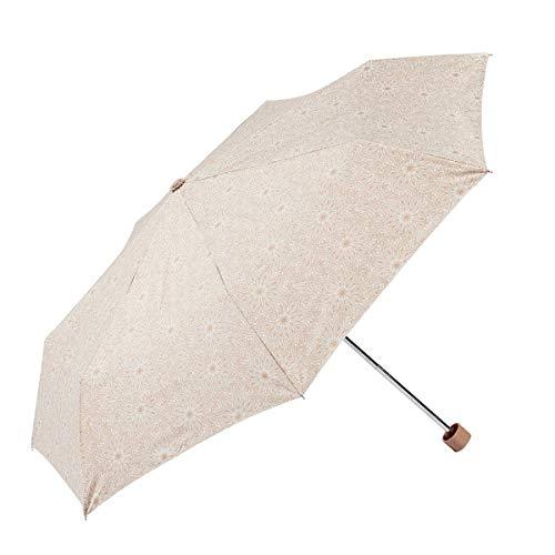 EZPELETA Sombrilla y Paraguas Plegable de Mujer. Manual con puño Recto. Protección Solar UPF 50+. Antiviento. Estampado Flores - Beige