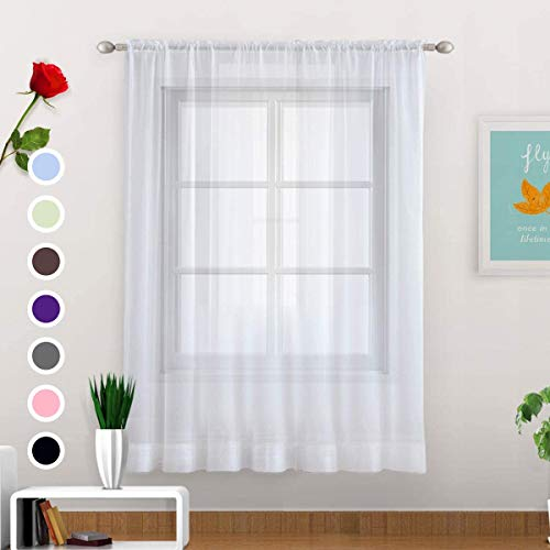 SpaceDresser Basic Rod Pocket Sheer Voile Window Curtain - Home Decoration for Kitchen, Bedroom and Living Room Sheer Voile Curtains, 1 Panel (White-Single Panel, 52 W x 84 L)…