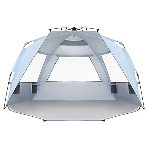 Easthills Outdoors Instant Shader Enhanced Pop Up Beach Tent Instant Sun Shelter with UPF 50+ UV Protection Double Silver Coating for Kids & Family Sky Blue