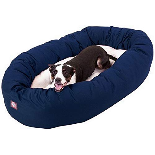 40 inch Blue & Sherpa Bagel Dog Bed By Majestic Pet Products
