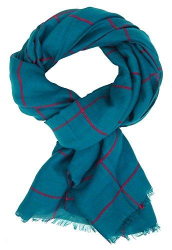 Ella Jonte Écharpes foulard d'homme élégant et tendance de la dernière collection by Classic-Line large petrolio avec rayure rouge - léger et très agr