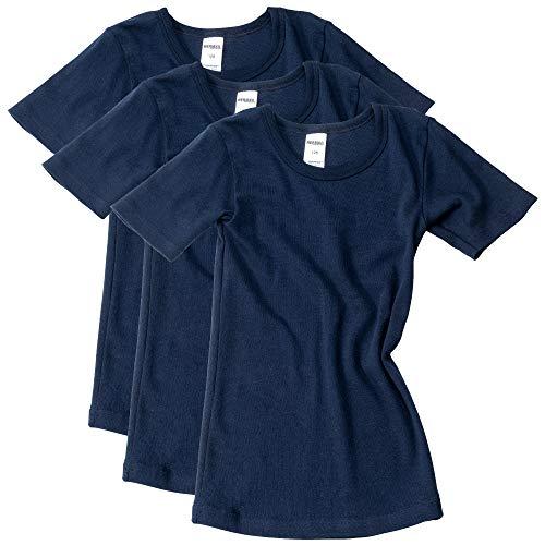 HERMKO 2810 3er Pack Kinder Kurzarm Unterhemd für Mädchen + Jungen aus Bio-Baumwolle, Farbe:weiß, Größe:140