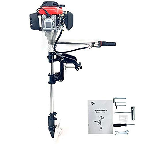 ECUTEE 2.5HP Outboard Motor 4 Stroke 54CC Boat Engine Heavy Duty Outboard Motor Boat Engine W/Water Air Cooling System