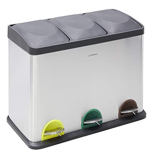 Step Bin CR705 45L Cubo de Basura y Reciclaje con Pedal, de Acero Inoxidable, con 3 Cubos Interiores, 3 x 15L (45L), Gris