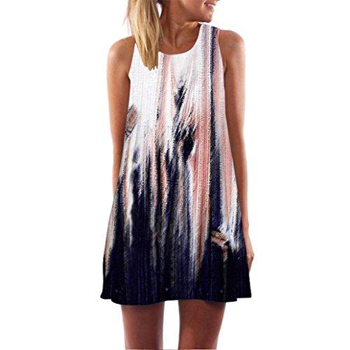 TUDUZ Damen Sommer Vintage Boho Ärmelloses Sommerstrand Gedruckt Kurzes Minikleid Blumenkleid T-Shirt Tops Kleider-Faschingskostüme (Marine, S)