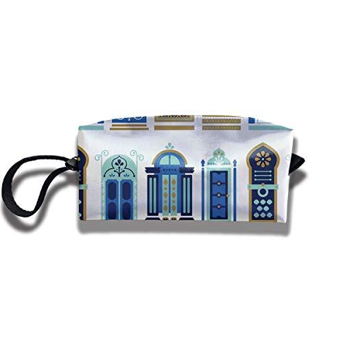Doinh Marokkaanse Deuren Blauw & Goud Palet Kleine Cosmetische Tas Reizen Rits Tas Waterdichte Opbergtas Draagbare Cosmetische Bagging Pailletten Tas Geschikt voor Meisjes