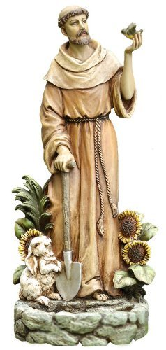St. Francis with Bird Statue and Birdfeeder, 12-1/2-inch Tall -  HJ Sherman