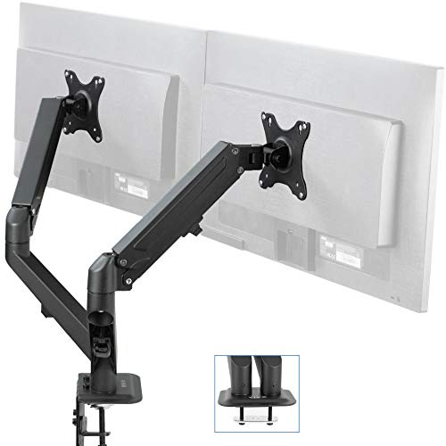 VIVO Black Articulating Dual Pneumatic Spring Arm Clamp-on Desk Mount Stand | Fits 2 Monitor Screens 17 to 27 inches with Max VESA 100x100 (STAND-V102O)