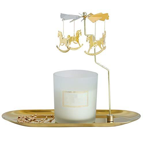 Stile Europeo revolving Candela Portacandele Americano Semplice Metal Iron Art Candlelight Puntelli Ornamenti Dorati Ornamenti Dorati, Ornamenti in Legno Cavallo-Nessuna Candele