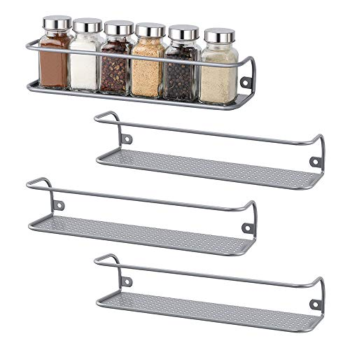 4 Pack Wall Mount Tier Spice Rack,Nail Polish Rack,Door Mount,Saving Space Solution Easy Holds Up to 24 Jars,Spice Shelf Storage in Cupboard,Kitchen Or Pantry,28.70x8.89x6.10 cm (Silver)