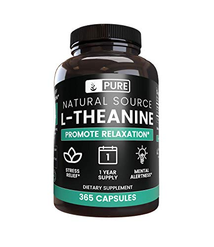 100% Pure L-Theanine, 365 Capsules, 1-Year Supply, No Magnesium or Rice Filler, 355mg per Serving, Made in The USA, Potent and Gluten-Free, Non-GMO, L-Theanine with No Additives