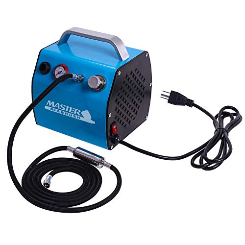 Master Airbrush Model TC-77, Super Quiet High Performance Airbrush Compressor with a 6 Inch Braided Hose with Mini-Inline Moisture Filter