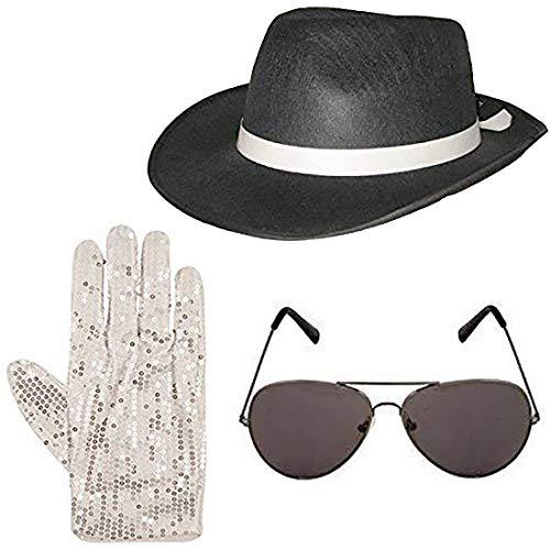 Islander Fashions Deluxe Gangster Hut Brille und Pailletten Handschuhe Set 1920er Jahre Kost�m (3 St�ck Set) Einheitsgr��e