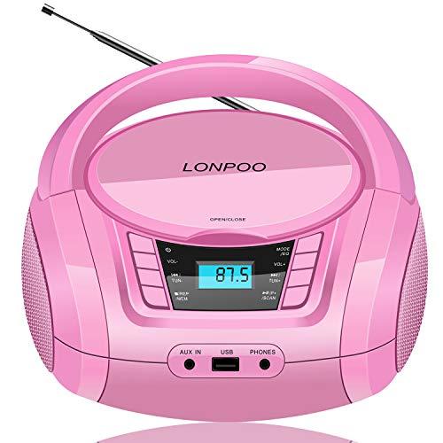 LONPOO Tragbarer CD-Player für Kinder Stereo Boombox Bluetooth mit CD-Radio FM, Port für USB/Aux-in/Kopfhörer (Rosa)
