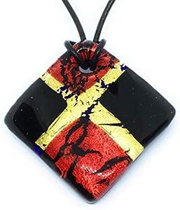 Joyería de cristal de Murano, colgante de cristal de Murano, rojo y negro sobre hoja de oro, grueso 4 cm x 4 cm, incluye caja de regalo y certificado (Diana Lg)