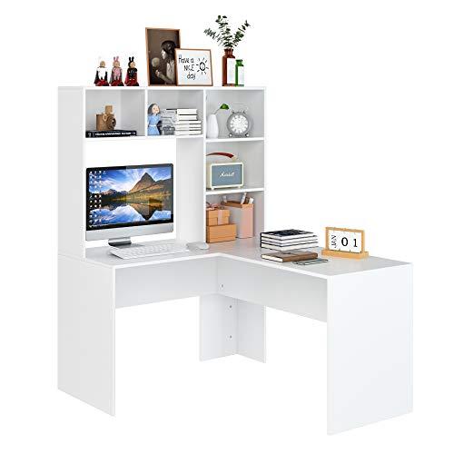 Homfa Mesa Escritorio Mesa con Estantería Escritorio Esquinero Blanco en L Escritorio con Estantería Reversible Mesa para Oficina Despacho Estudio