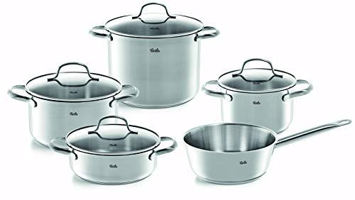 Fissler vancouver / Edelstahl-Topfset, 5-teilig, Töpfe mit Glas-Deckel (3 Kochtöpfe, 1 Bratentopf, 1 Sauteuse) - Induktion