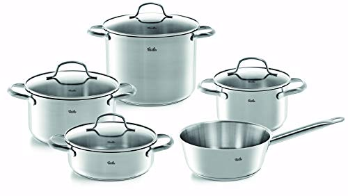Fissler vancouver / Edelstahl-Topfset, 5-teilig, Töpfe mit Glas-Deckel (3 Kochtöpfe, 1 Bratentopf, 1 Sauteuse), alle Herdarten inkl. Induktion