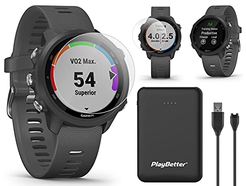 Garmin Forerunner 245 (Slate Gray) Running GPS Watch Bundle | +Screen Protectors & PlayBetter Portable Charger (Large) | Advanced Analytics, Heart Rate, Body Battery, Fitness Tracker | 010-02120-20