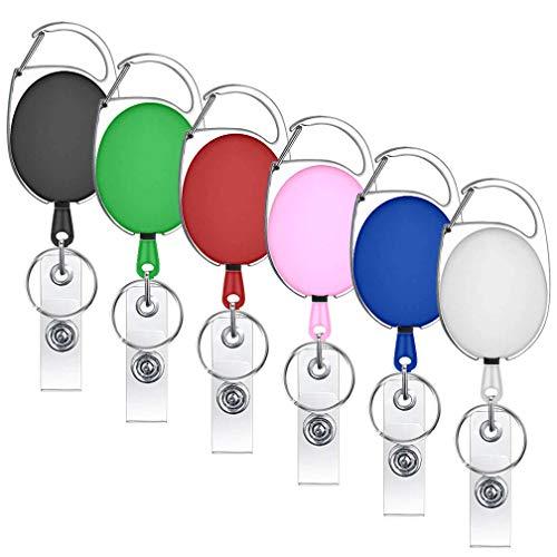 Karabinerhaken, ausziehbar, für Schlüsselbund und Ausweise, verschiedene Farben, 6 Stück