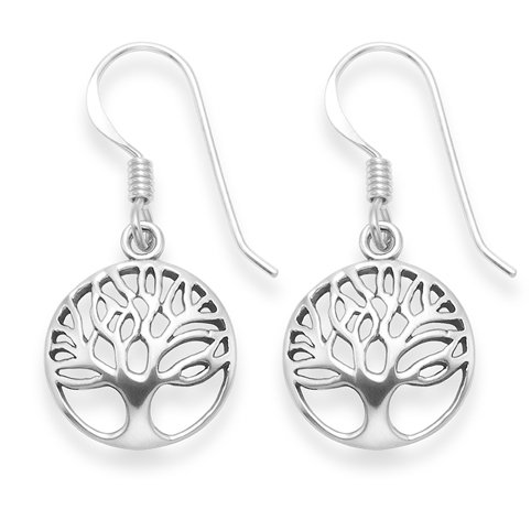 Sterling Silver Tree of Life drop earrings - Size: 13mm. Branded Gift Box - Antiqued finish (oxidized). 6097