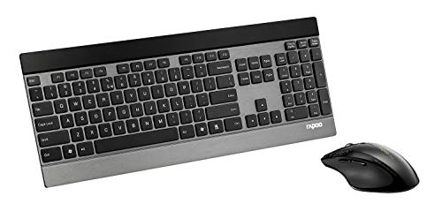 Rapoo 8900P kabelloses Tastatur-Maus-Set, 5 GHz Wireless, dünnes Aluminium Design, 1600 DPI Laser Sensor, 4D Mausrad, DE-Layout QWERTZ, schwarz