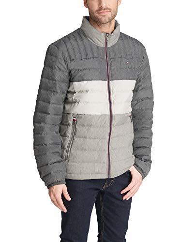 Tommy Hilfiger Men's Ultra Loft Lightweight Packable Puffer Jacket (Standard and Big & Tall), Heather grey color Block, Medium