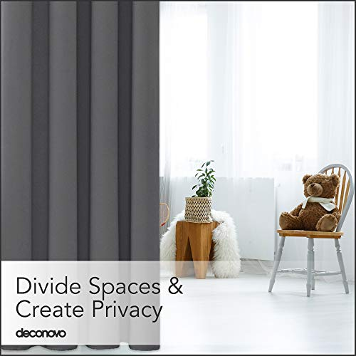Deconovo Privacy Room Divider Curtain Thermal Insulated Blackout Curtains Screen Partition Room Darkening Panel for Shared Bedroom, 10ft Wide x 8ft Tall 1 Panel Dark Grey