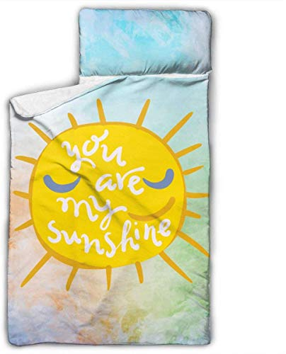You are My Sunshine Kids Toddler Nap Mat with Pillow - Includes Pillow & Fleece Blanket for Boys and Girls Napping at Daycare, Preschool, Or Kindergarten