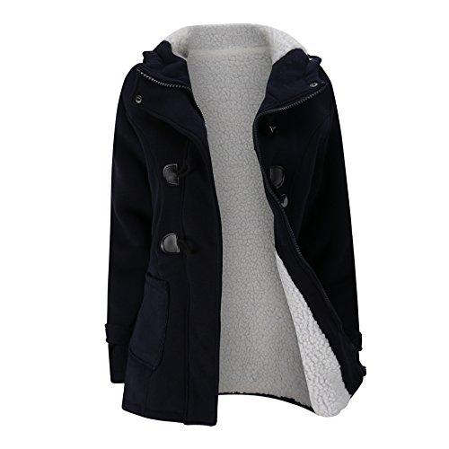 Sudadera con Capucha para Mujer de Otoño Invierno Color Sólido Jacket con...